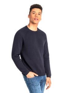 LEE RICE KNIT MIDNIGHT NAVY MAGLIONE UOMO IN COTONE